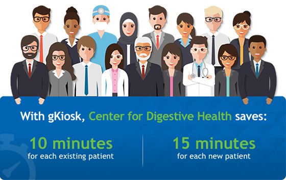 With gKiosk, the Center for Digestive Health saves: 10 minutes for each existing patient and 15 minutes for each new patient
